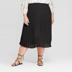 Women's Plus Size Midi Pleated Skirt - Ava & Viv™
