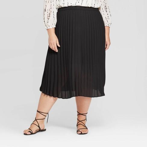 Women's Plus Size Midi Pleated Skirt - Ava & Viv™ - image 1 of 2