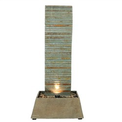 "49""H Spiraling Slate Outdoor Water Fountain with LED Lights - Sunnydaze Decor"
