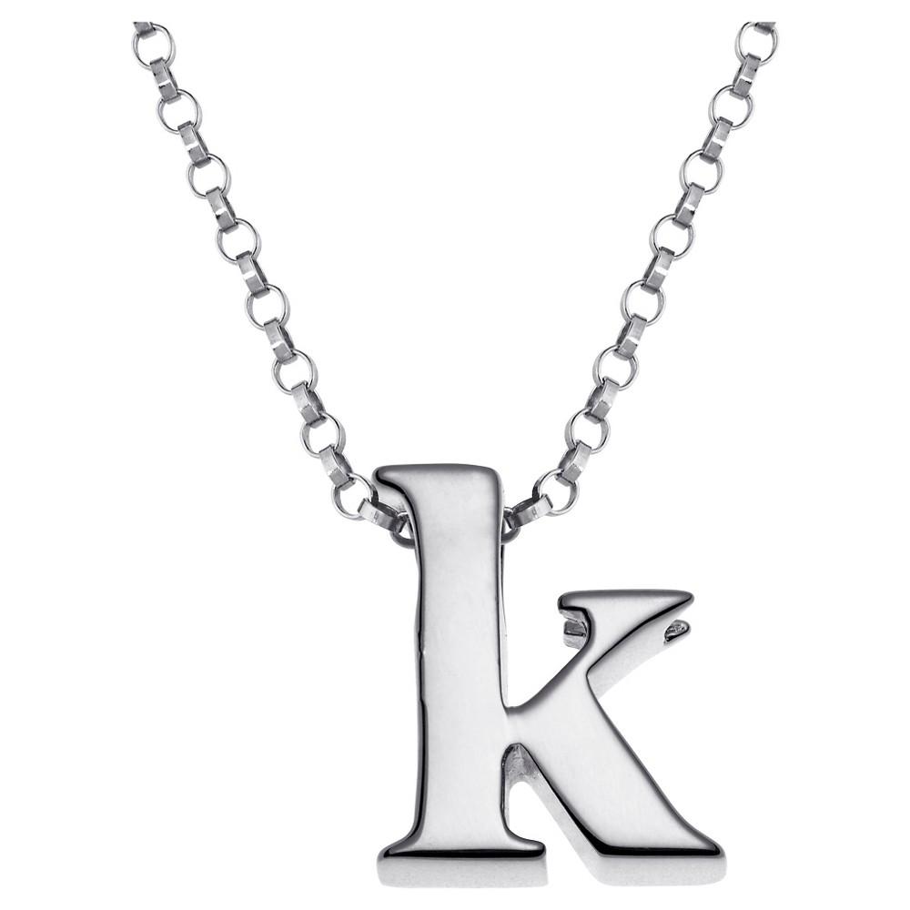 Women's Sterling Silver 'k' Initial Charm Pendant - Silver, K