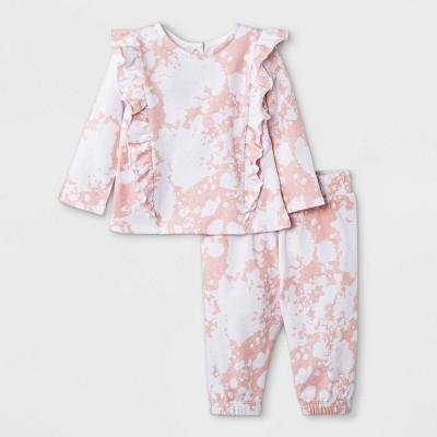 Grayson Mini Baby Girls' French Terry Sweatshirt & Tie-Dye Bottom Set - Light Pink
