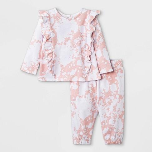 Grayson Mini Baby Girls' French Terry Sweatshirt & Tie-Dye Bottom Set - Light Pink - image 1 of 4