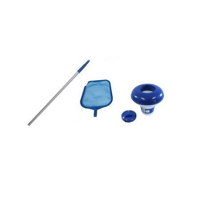 Intex Swimming Pool Pole Kit w/ Skimmer & Hydrotools Floating Chlorine Dispenser