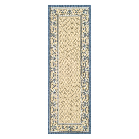 "Alicante Rectangle 2'3"" X 10' Outdoor Rug - Natural / Blue  - Safavieh® - image 1 of 1"