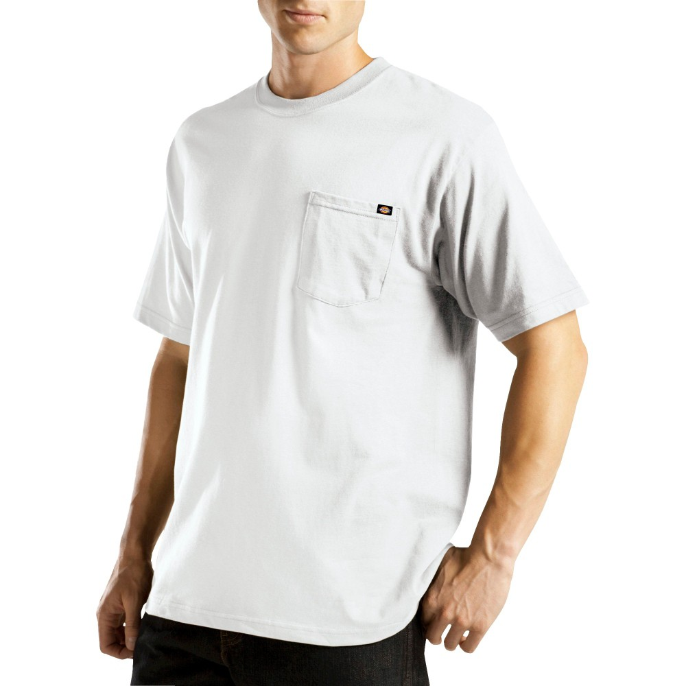 Dickies Men's Short Sleeve Performance Wicking Pocket T-Shirt- White L