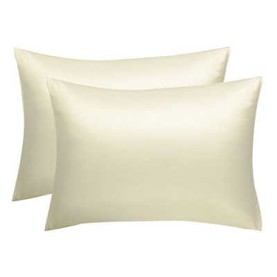 "2 Pcs 20""x36"" Silk Satin Envelope Pillow Cases Pearl White - PiccoCasa"