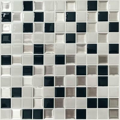 Roommates Metallic Checkerboard Tile