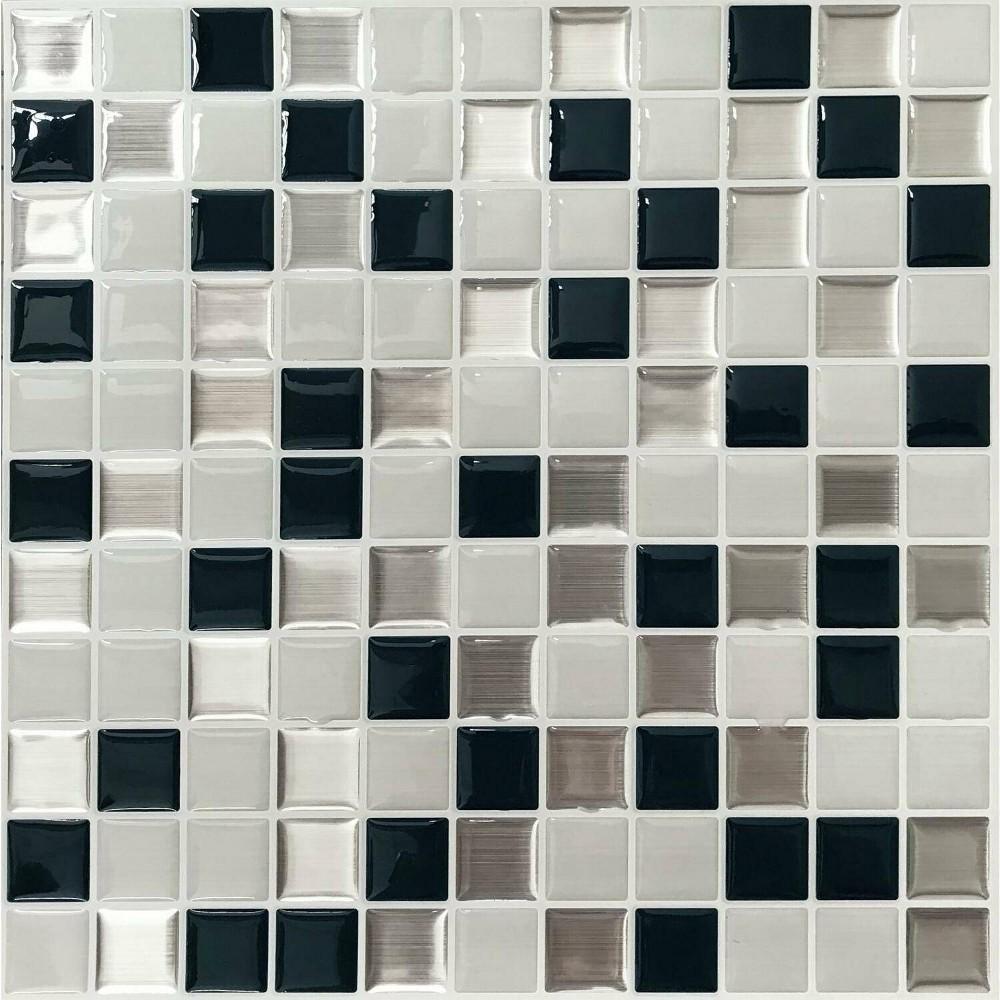 Roommates Metallic Checkerboard Tile Peel And Stick Backsplash