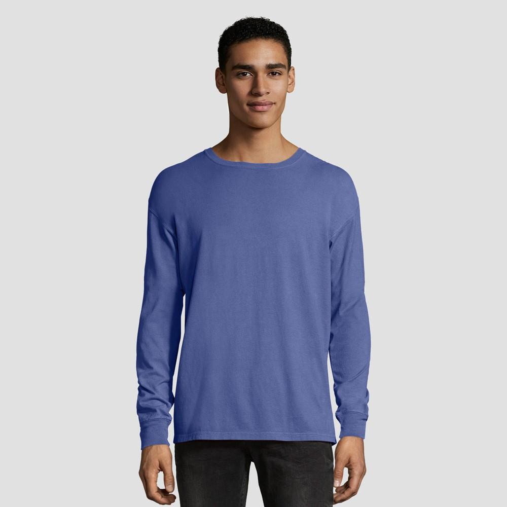 Hanes 1901 Men's Big & Tall Long Sleeve T-Shirt - Deep Blue 3XL