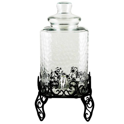 Gibson Home 2gal Glass Embossed Beverage Dispenser with Wire Stand