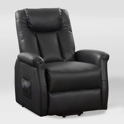Arlington Power Lift and Rise Leather Gel Recliner Black - CorLiving