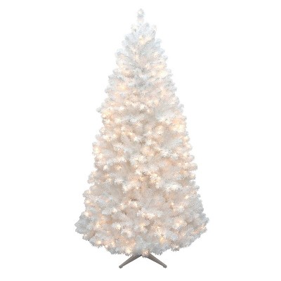 White Christmas Tree With Lights.7ft Pre Lit Artificial Christmas Tree White Alberta Spruce Clear Lights Wondershop