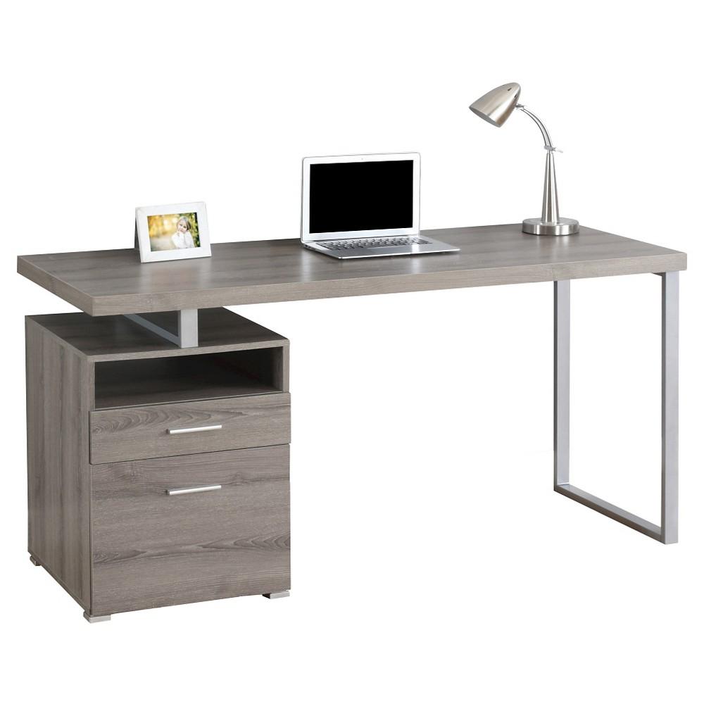 Image of Computer Desk - Silver Metal & Dark Taupe - EveryRoom, Brown