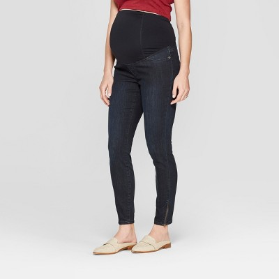 High-Rise Crossover Panel Skinny Zipper Ankle Maternity Jeans - Isabel Maternity by Ingrid & Isabel™ Dark Wash