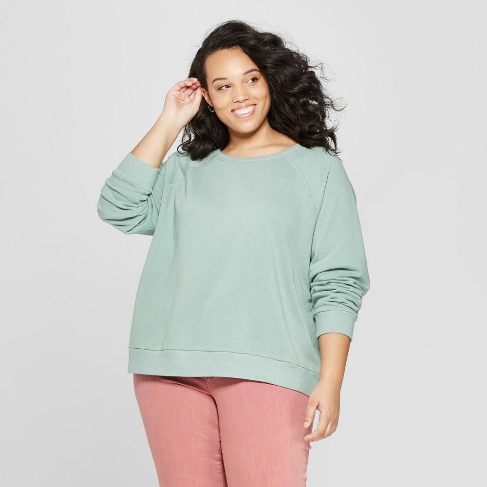 Women's Plus Size Long Sleeve Crew Neck Sweatshirt - Universal Thread Green X