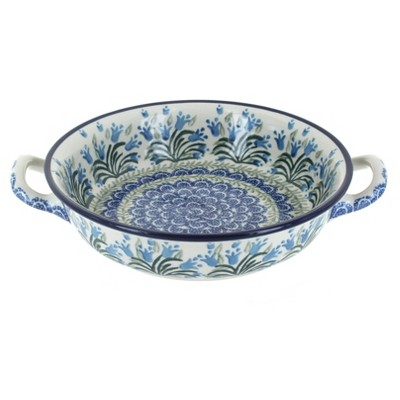 Blue Rose Polish Pottery Tulip Bouquet Small Round Casserole with Handles