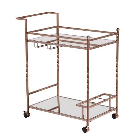 Iverson Metal Mirrored Bar Cart - Aiden Lane - image 1 of 7