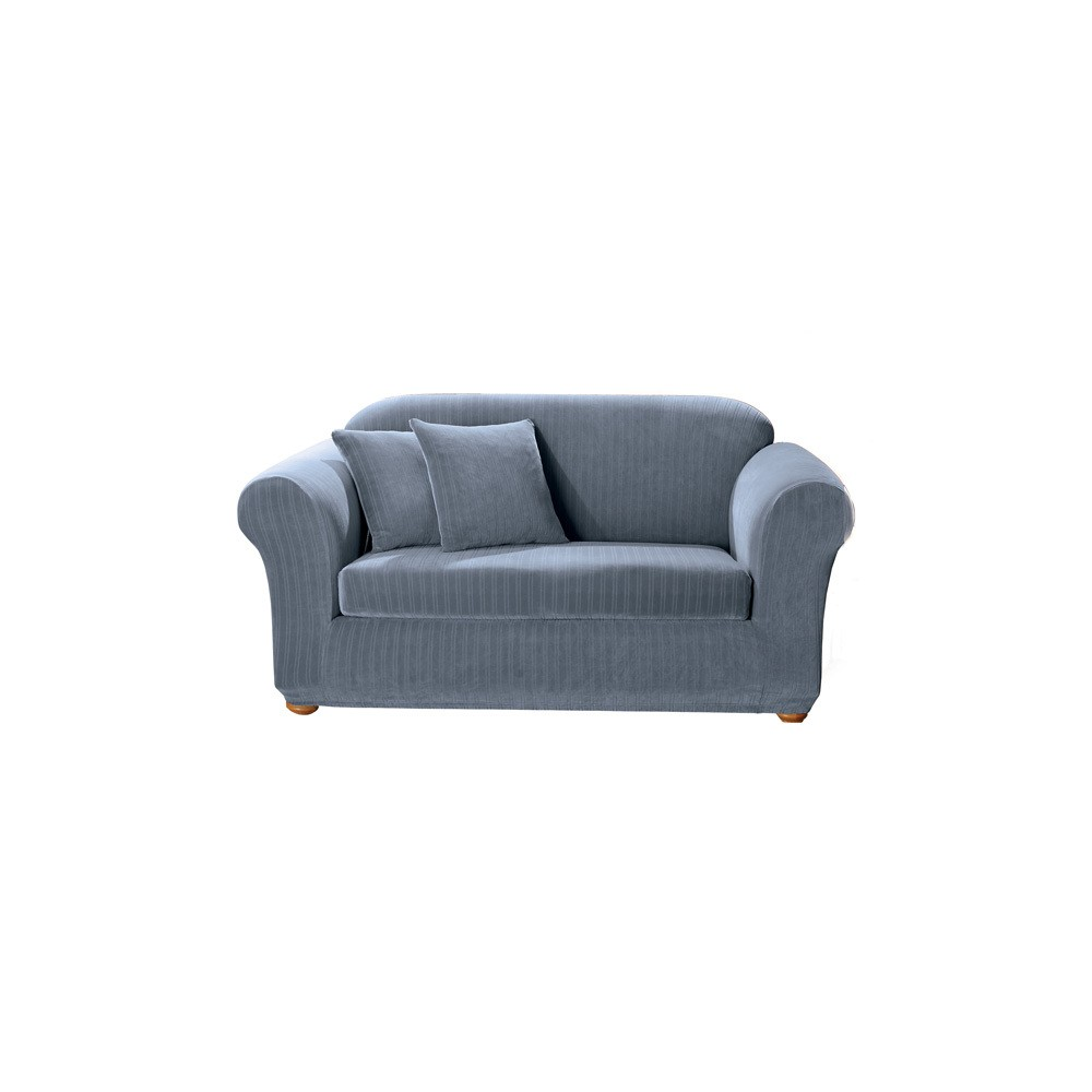 Fantastic French Blue Stretch Pinstripe 2Pc Sofa Slipcover Sure Fit Ncnpc Chair Design For Home Ncnpcorg