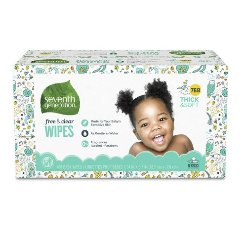 Seventh Generation Free & Clear Baby Wipes with Dispenser - 12pk/768ct Total - image 1 of 4