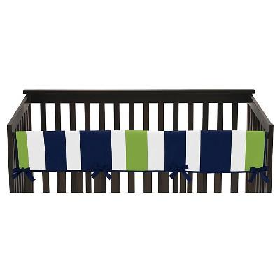 Sweet Jojo Designs Navy Blue & Lime Green Stripe Long Crib Rail Guard Cover - Lime