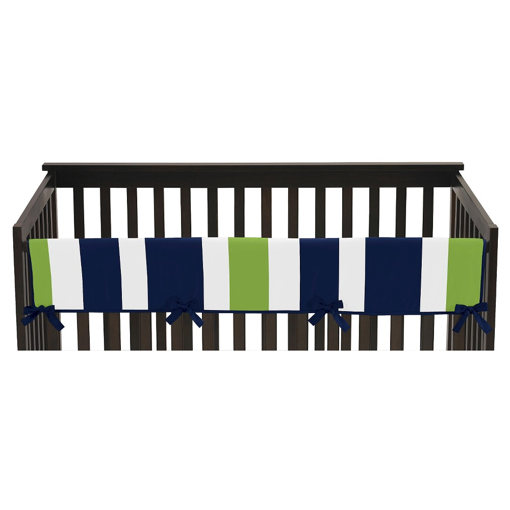 Sweet Jojo Designs Navy Blue & Lime Green Stripe Long Crib Rail Guard Cover - Lime