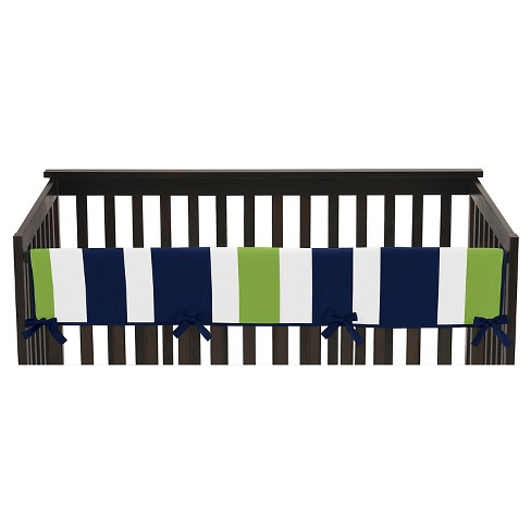 Sweet Jojo Designs Navy Blue & Lime Green Stripe Long Crib Rail Guard Cover - Lime - image 1 of 4