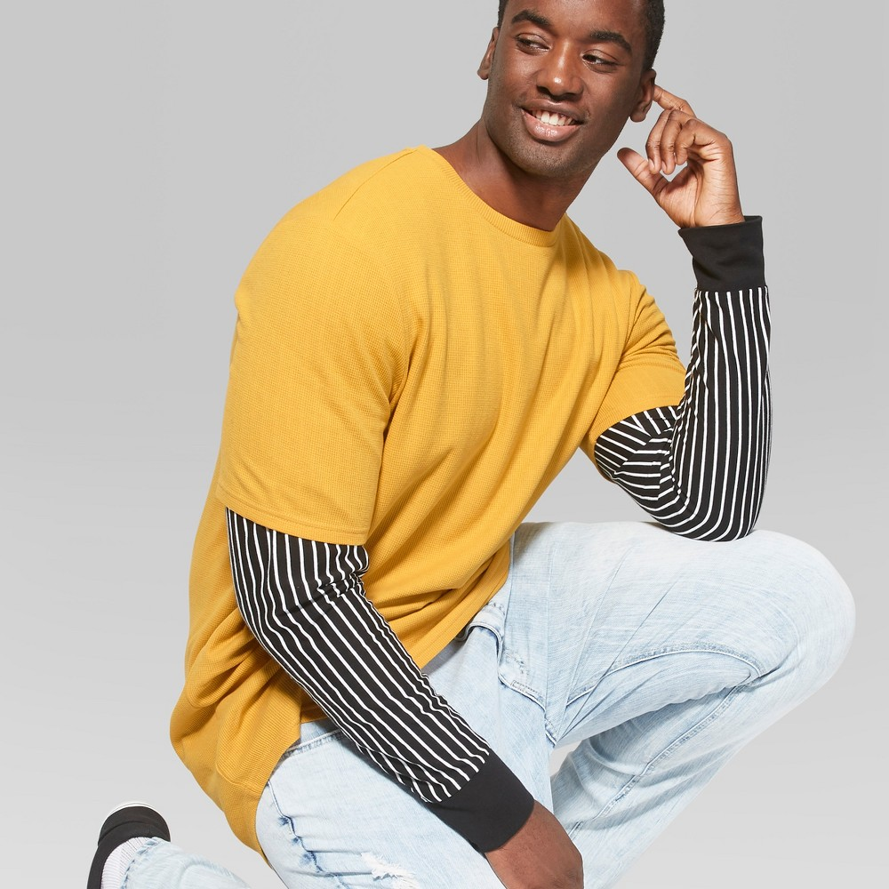 Men's Big & Tall Short Sleeve Dropped Shoulder Thermal Paneled T-Shirt - Original Use Autumn Yellow 4XB