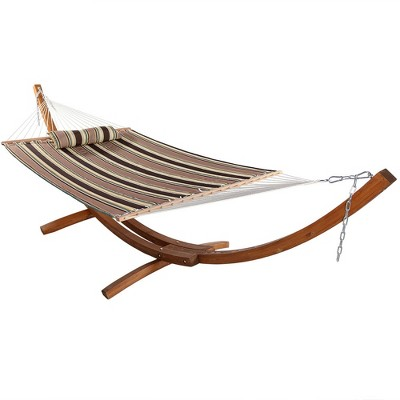Sunnydaze Quilted Double Fabric 2-Person Hammock with Curved Arc Wood Stand - 400 lb Weight Capacity/13' Stand - Sandy Beach