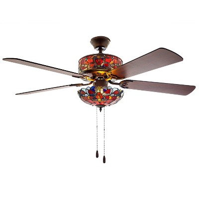 """52"""" LED Glass Tiffany Style Stained Magna Carta Lighted Ceiling Fan - River of Goods"""