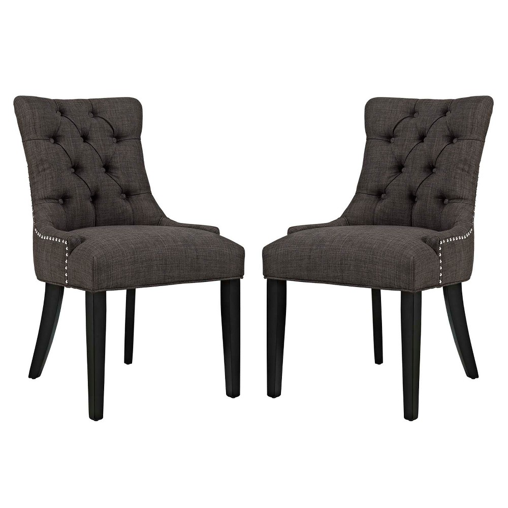 Regent Dining Side Chair Fabric Set of 2 Brown - Modway