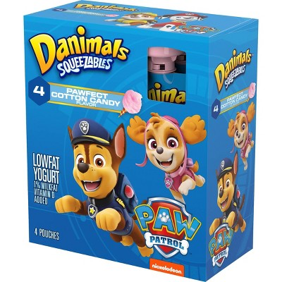 Dannon Danimals Squeezables Cotton Candy Kids' Yogurt - 4pk/3.5oz pouches