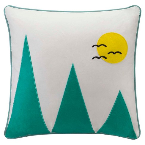 "Yellow Wanderlust Mountain Appliqued Cotton Throw Pillow (20x20"") - image 1 of 2"