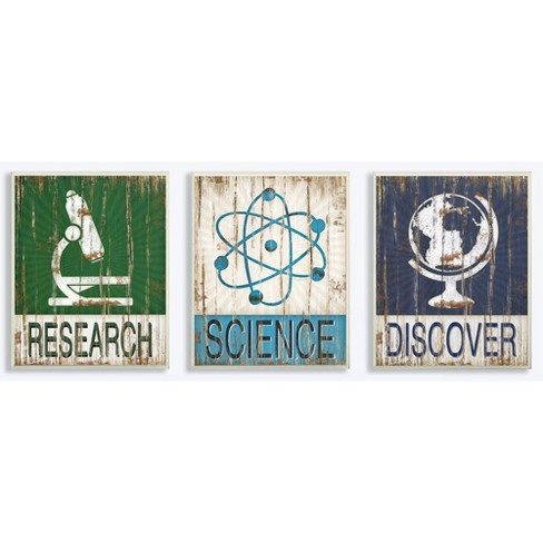 """3pc 10""""x0.5""""x15"""" Research Science Discover Wall Plaque Art Set - Stupell Industries - image 1 of 2"""