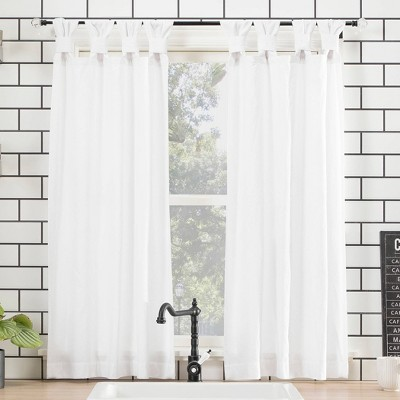 "45""x52"" Washed Cotton Twisted Tab Light Filtering Curtain Tiers White - Archaeo"