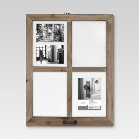 4 Opening Windowpane Collage Frame Weathered Wood - Threshold™ : Target