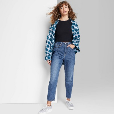 Women's Super-High Rise Curvy Mom Taper Jeans - Wild Fable™ Dark Wash
