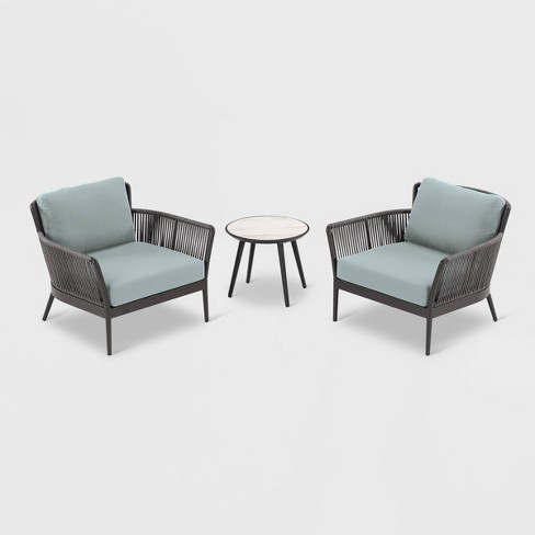 3pc Nette Club Chair and Table Set Black/Seafoam - Oxford Garden - image 1 of 1