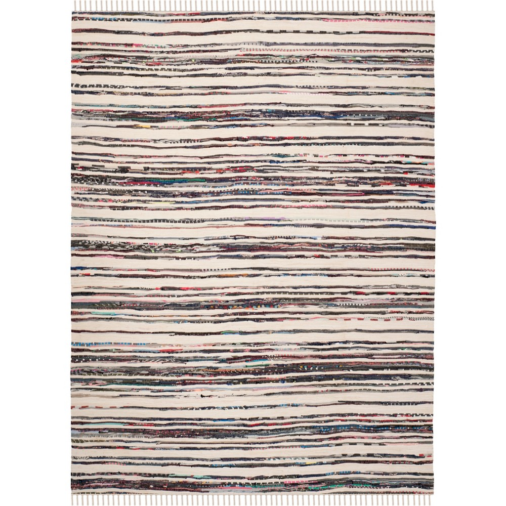 6'X9' Stripe Woven Area Rug Ivory/Charcoal (Ivory/Grey) - Safavieh