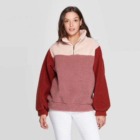 Women's Quarter Zip-Up Sherpa Sweatshirt - Universal Thread™ Pink - image 1 of 3