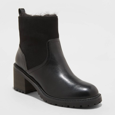 Women's Marla Faux Fur Lug Ankle Boots - Universal Thread™ - image 1 of 2