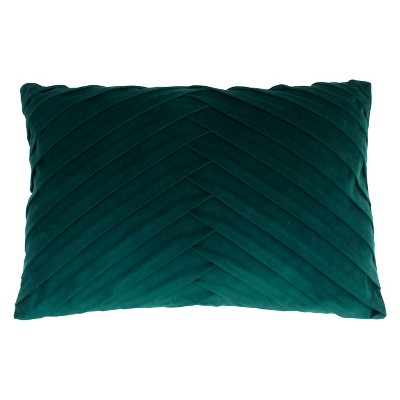 James Pleated Velvet Oversize Lumbar Throw Pillow Turquoise - Decor Therapy
