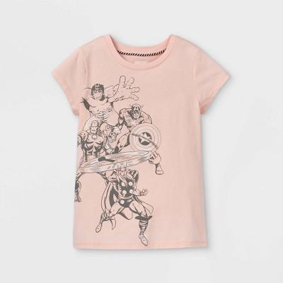 Girls' Marvel Team Cap Sleeve Graphic T-Shirt - Peach Orange