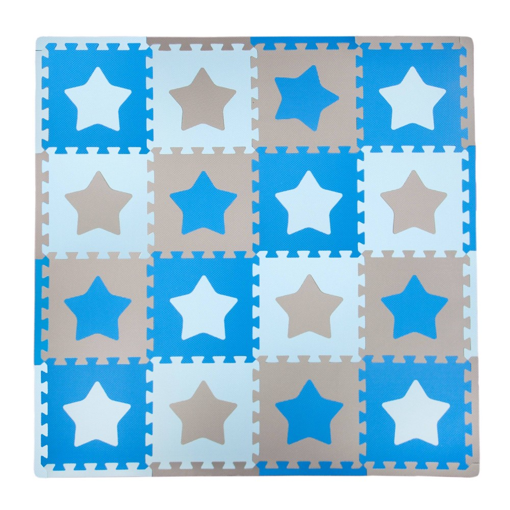 Image of Tadpole Mat 16 Piece - Stars (Blue/Brown)