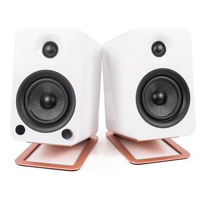 Kanto YU4 Powered Bookshelf Speakers with Built-In Bluetooth and S4 Desktop Speaker Stands - Pair