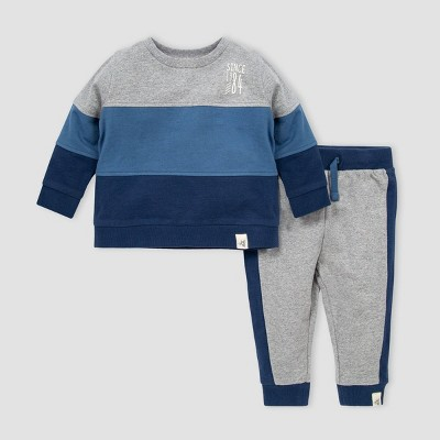 Burt's Bees Baby® Baby Boys' Organic Cotton French Terry Colorblock Sweatshirt and Pants Set - Blue/Gray 3M