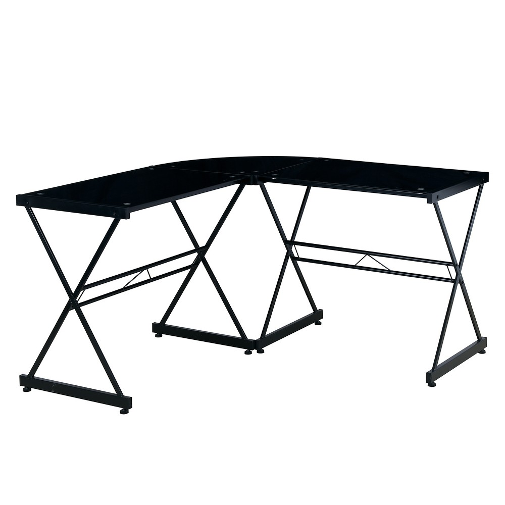 L Shaped Glass Computer Desk Black - Techni Mobili