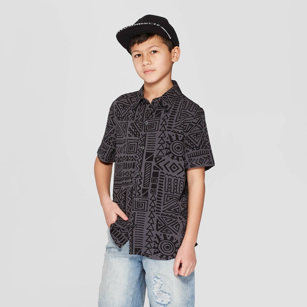 Boys' Short Sleeve Button-Down Shirt - art class Charcoal M, Black