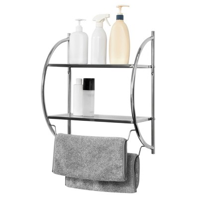 Juvale Wall Mounted 2 Tier Storage Organizer Shelf for Bathroom & Kitchen, Chrome Metal Shower Caddy with 2 Swing Towel Rack