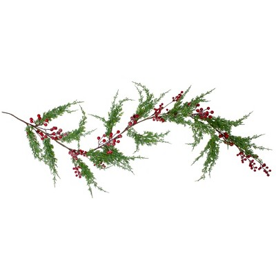 "Northlight 5' x 8"" Frosted Red Berry Artificial Christmas Garland- Unlit"
