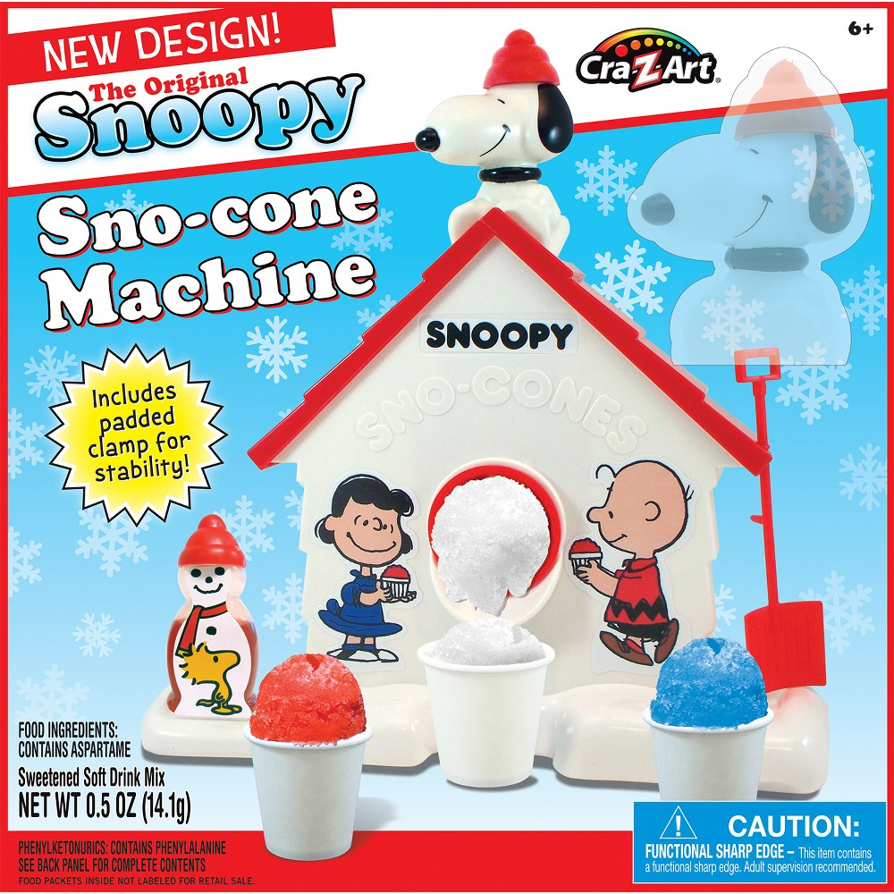 Snoopy Sno Cone Maker, White Help your kids make a cool treat with the Snoopy Sno Cone Maker. Use a hand crank to shave ice and scoop it into cups with the shovel. A padded clamp provides extra stability for this snow cone maker. Makes a perfect collectible gift for Peanuts fans young and old. For ages 4 and up. Color: White. Gender: Unisex.
